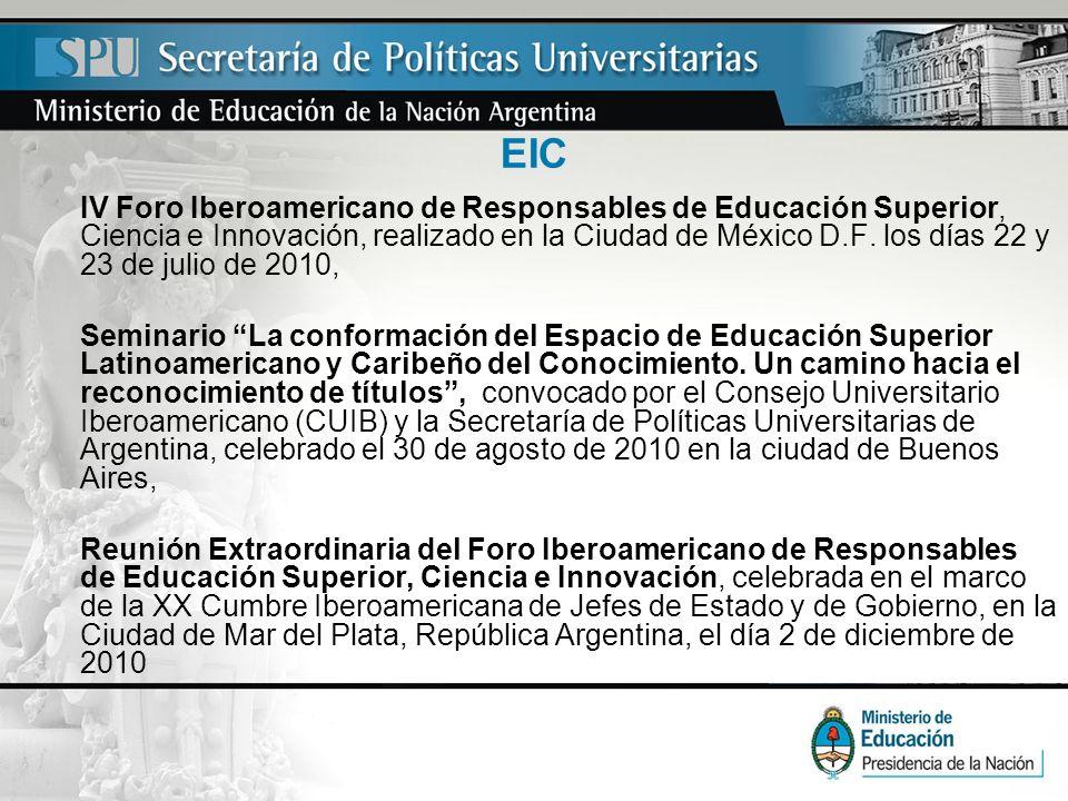 EIC IV Foro Iberoamericano de Responsables de Educación Superior, Ciencia e Innovación, realizado en la Ciudad de México D.F. los días 22 y 23 de juli