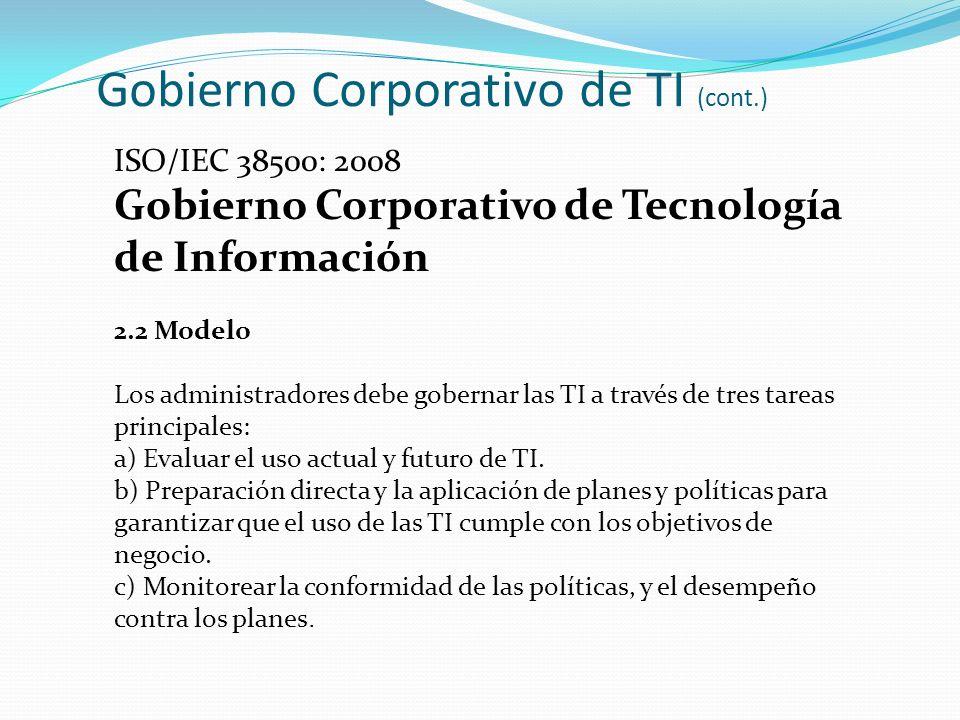 Gobierno Corporativo de TI (cont.) ISO/IEC 38500: 2008 Gobierno Corporativo de Tecnología de Información 2.2 Modelo Los administradores debe gobernar