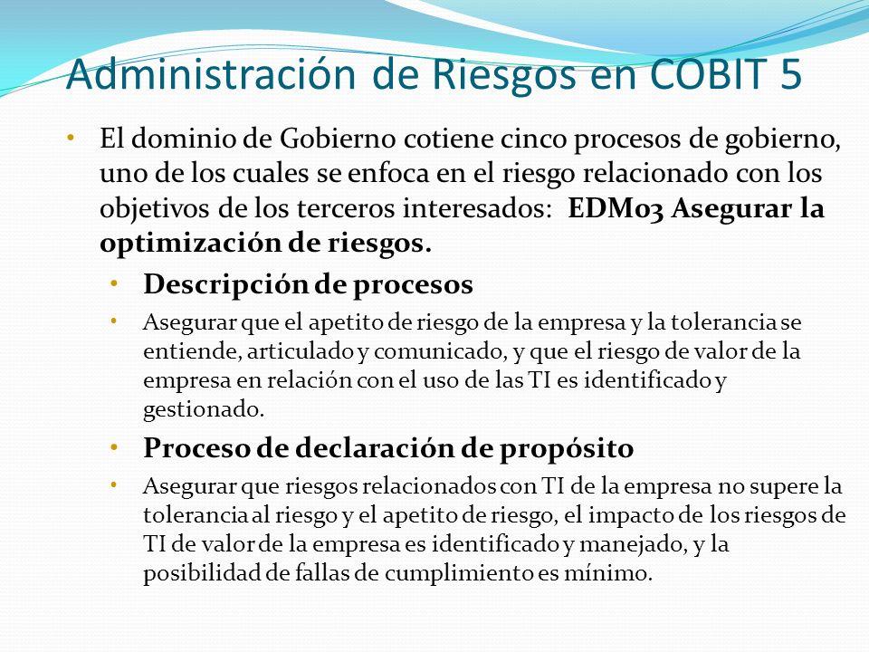 Administración de Riesgos en COBIT 5 El dominio de Gobierno cotiene cinco procesos de gobierno, uno de los cuales se enfoca en el riesgo relacionado c