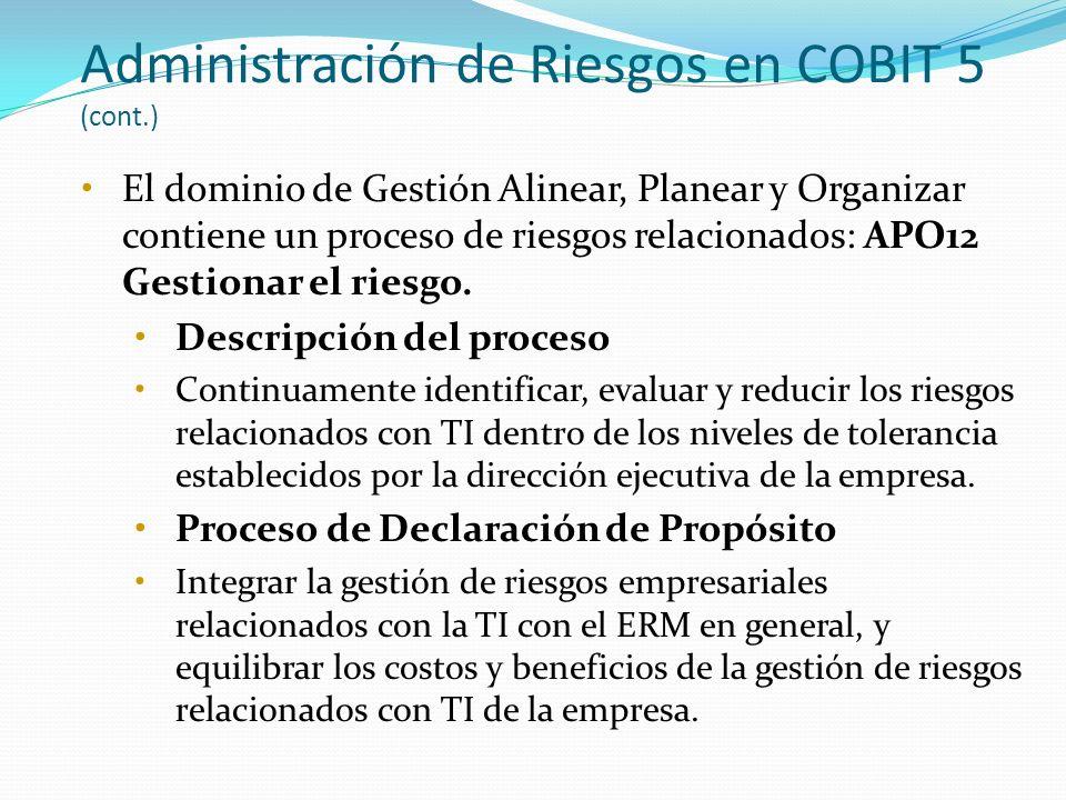 Administración de Riesgos en COBIT 5 (cont.) El dominio de Gestión Alinear, Planear y Organizar contiene un proceso de riesgos relacionados: APO12 Ges