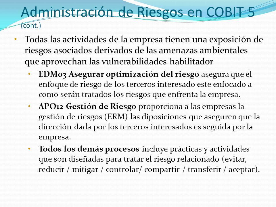 Administración de Riesgos en COBIT 5 (cont.) Todas las actividades de la empresa tienen una exposición de riesgos asociados derivados de las amenazas