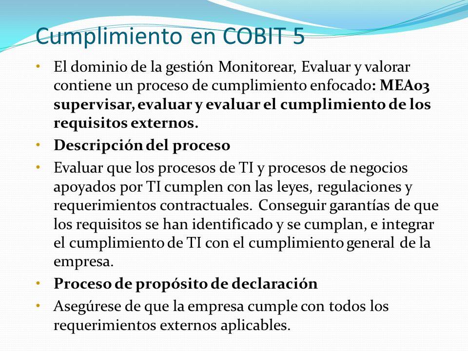 Cumplimiento en COBIT 5 El dominio de la gestión Monitorear, Evaluar y valorar contiene un proceso de cumplimiento enfocado: MEA03 supervisar, evaluar