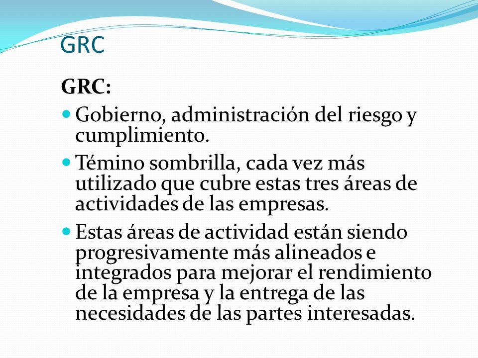 GRC GRC: Gobierno, administración del riesgo y cumplimiento. Témino sombrilla, cada vez más utilizado que cubre estas tres áreas de actividades de las