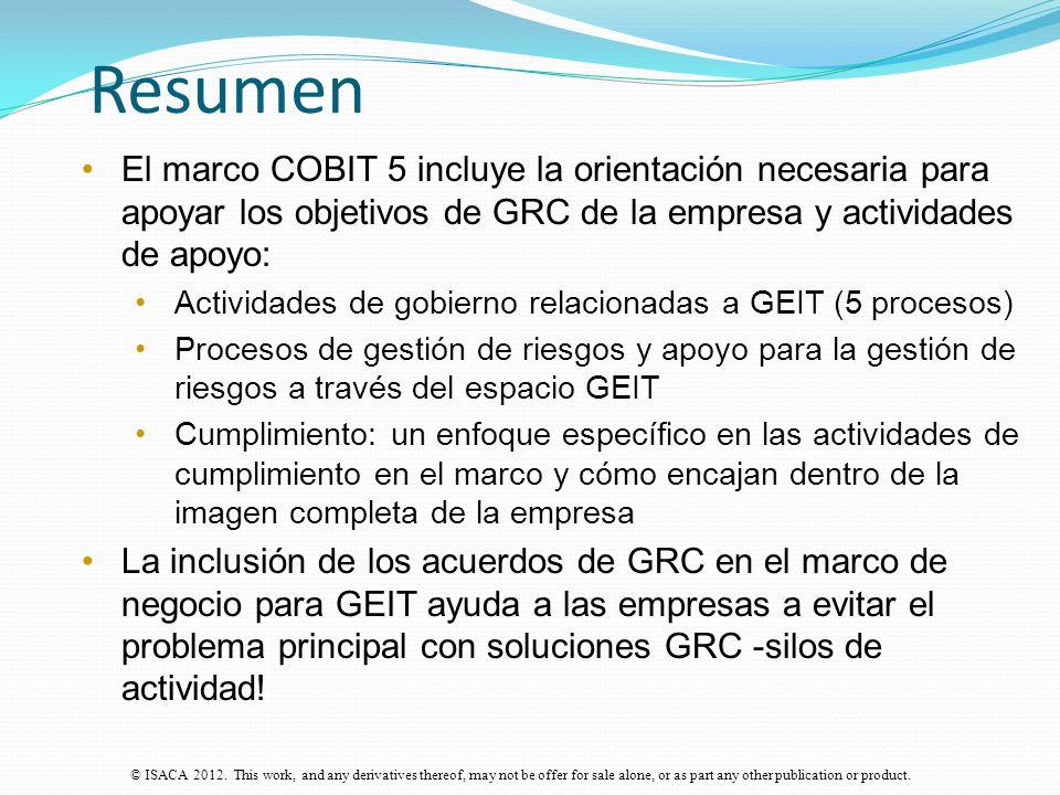 Resumen El marco COBIT 5 incluye la orientación necesaria para apoyar los objetivos de GRC de la empresa y actividades de apoyo: Actividades de gobier
