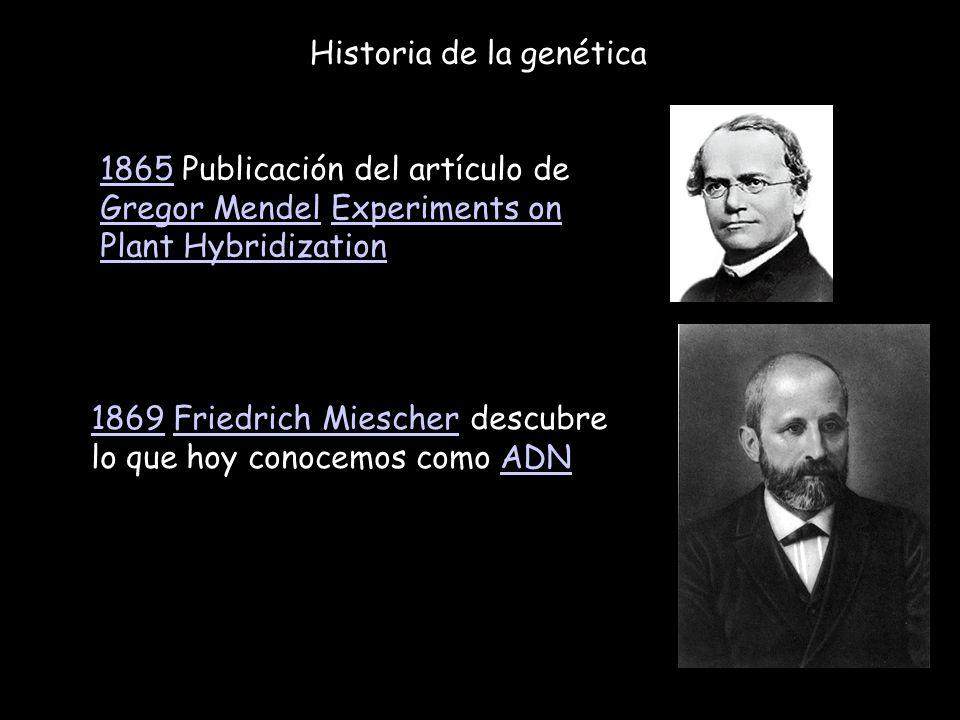 Historia de la genética 18651865 Publicación del artículo de Gregor Mendel Experiments on Plant Hybridization Gregor MendelExperiments on Plant Hybrid