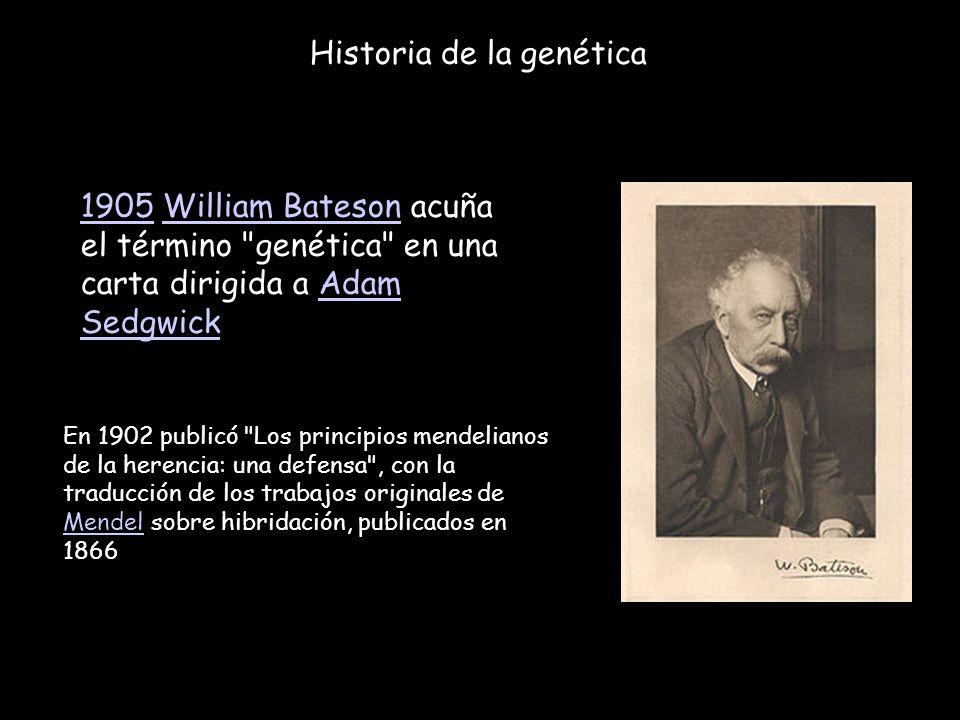 Historia de la genética 19051905 William Bateson acuña el término