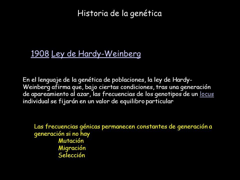 Historia de la genética 19081908 Ley de Hardy-WeinbergLey de Hardy-Weinberg En el lenguaje de la genética de poblaciones, la ley de Hardy- Weinberg af