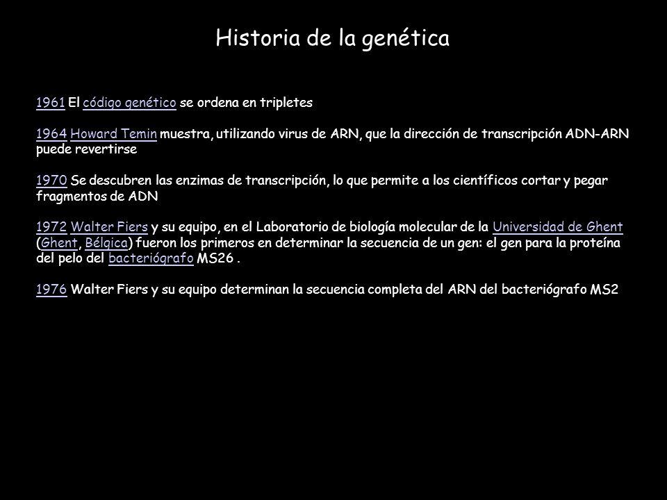 Historia de la genética 19611961 El código genético se ordena en tripletescódigo genético 19641964 Howard Temin muestra, utilizando virus de ARN, que
