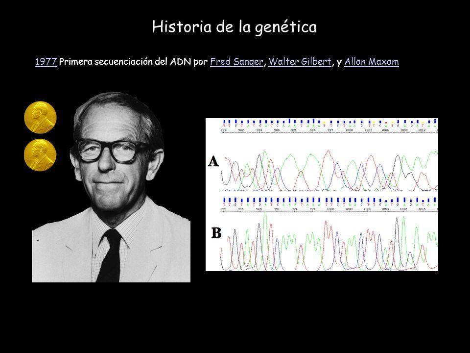 Historia de la genética 19771977 Primera secuenciación del ADN por Fred Sanger, Walter Gilbert, y Allan MaxamFred SangerWalter GilbertAllan Maxam