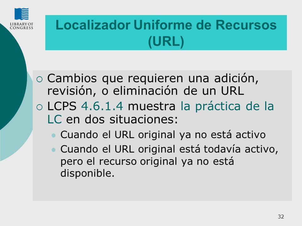 32 Localizador Uniforme de Recursos (URL) Cambios que requieren una adición, revisión, o eliminación de un URL LCPS 4.6.1.4 muestra la práctica de la LC en dos situaciones: Cuando el URL original ya no está activo Cuando el URL original está todavía activo, pero el recurso original ya no está disponible.