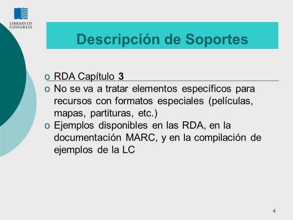 4 Descripción de Soportes oRDA Capítulo 3 oNo se va a tratar elementos específicos para recursos con formatos especiales (películas, mapas, partituras
