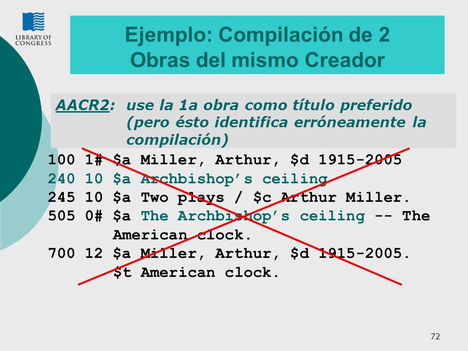 72 Ejemplo: Compilación de 2 Obras del mismo Creador AACR2:use la 1a obra como título preferido (pero ésto identifica erróneamente la compilación) 100 1# $a Miller, Arthur, $d 1915-2005 240 10 $a Archbishops ceiling 245 10 $a Two plays / $c Arthur Miller.