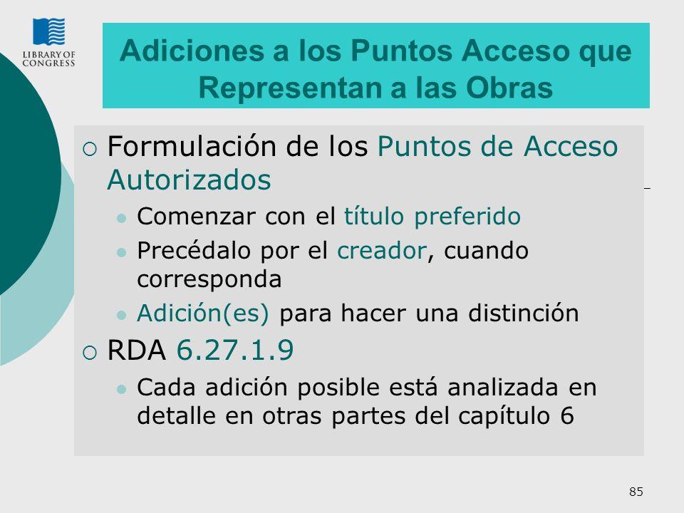 85 Adiciones a los Puntos Acceso que Representan a las Obras Formulación de los Puntos de Acceso Autorizados Comenzar con el título preferido Precédal