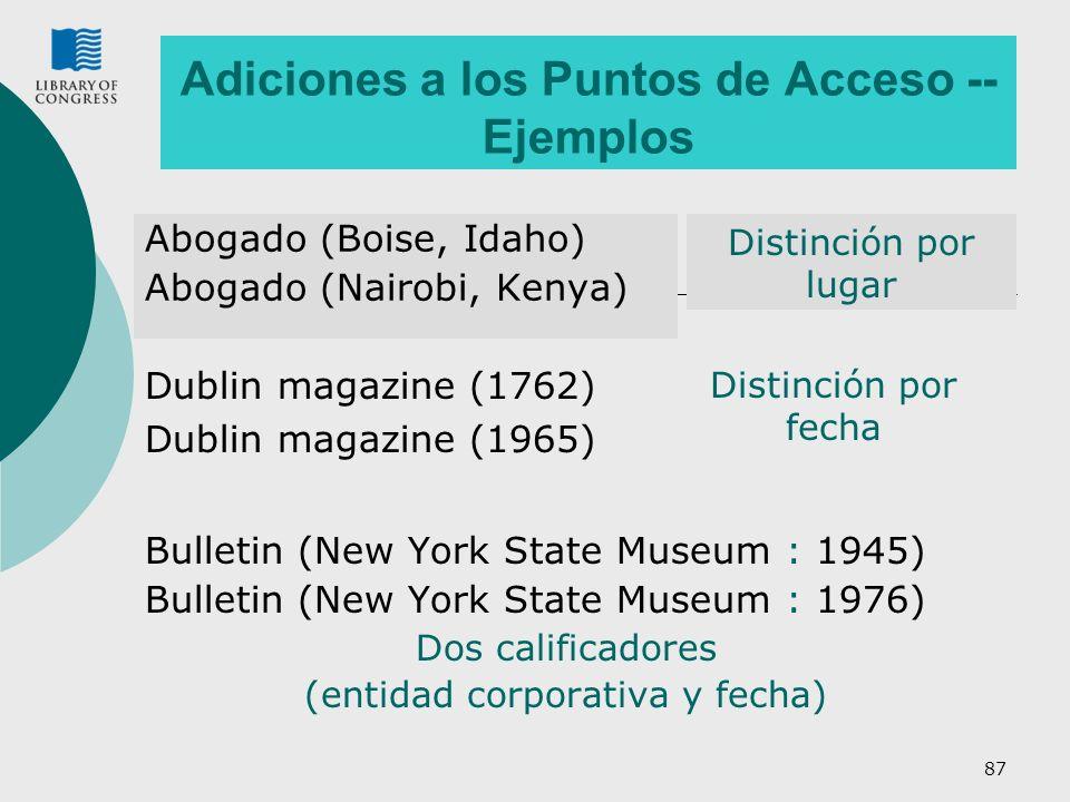 87 Adiciones a los Puntos de Acceso -- Ejemplos Abogado (Boise, Idaho) Abogado (Nairobi, Kenya) Bulletin (New York State Museum : 1945) Bulletin (New