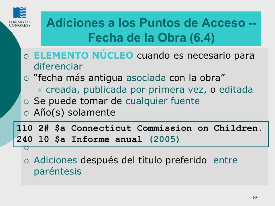 89 Adiciones a los Puntos de Acceso -- Fecha de la Obra (6.4) ELEMENTO NÚCLEO cuando es necesario para diferenciar fecha más antigua asociada con la o