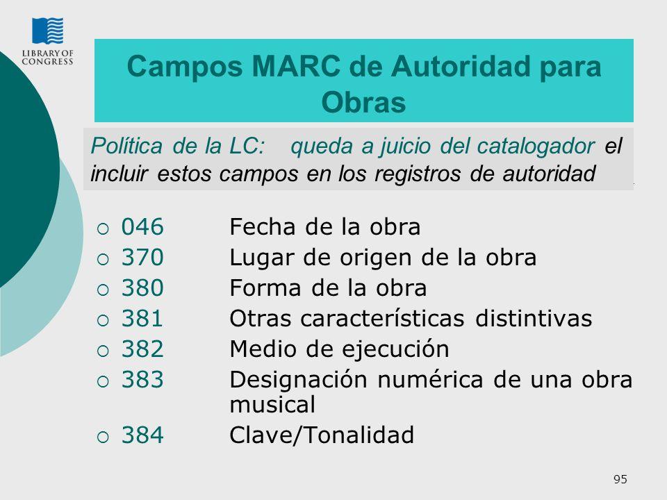 95 Campos MARC de Autoridad para Obras 046Fecha de la obra 370Lugar de origen de la obra 380 Forma de la obra 381 Otras características distintivas 38