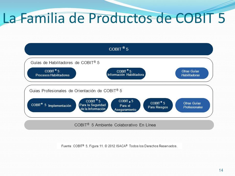 14 La Familia de Productos de COBIT 5 Fuente COBIT ® 5, Figura 11. © 2012 ISACA ® Todos los Derechos Reservados. COBIT ® 5 Implementación Otras Guías