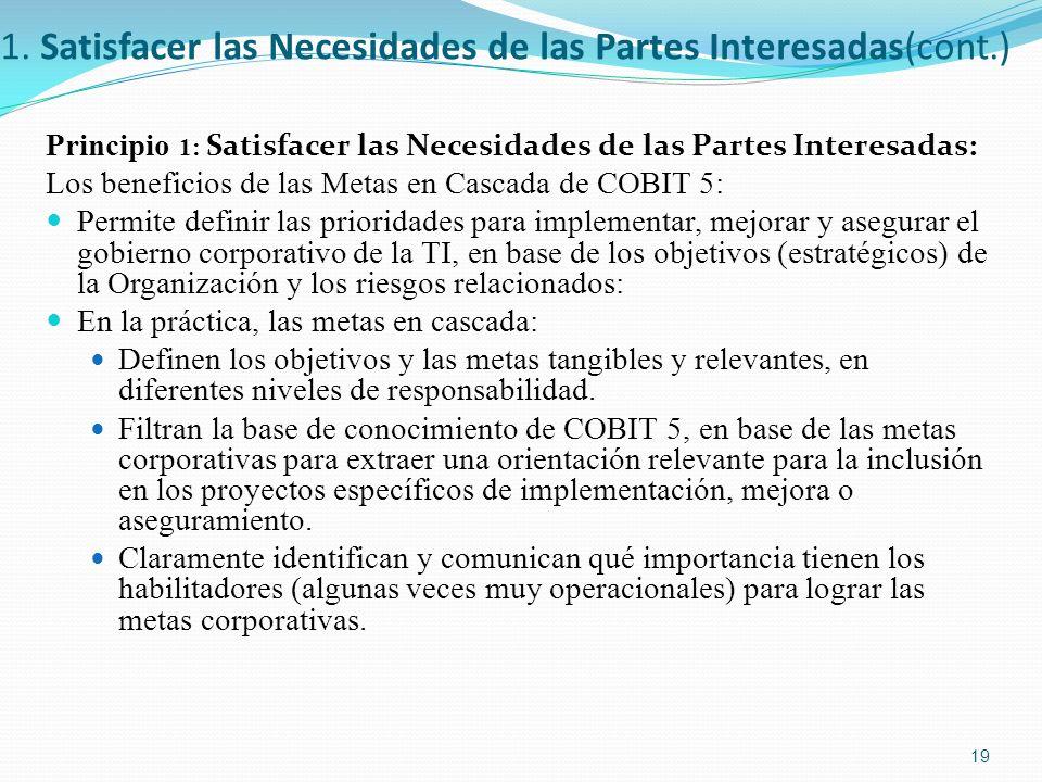 1. Satisfacer las Necesidades de las Partes Interesadas(cont.) Principio 1: Satisfacer las Necesidades de las Partes Interesadas : Los beneficios de l