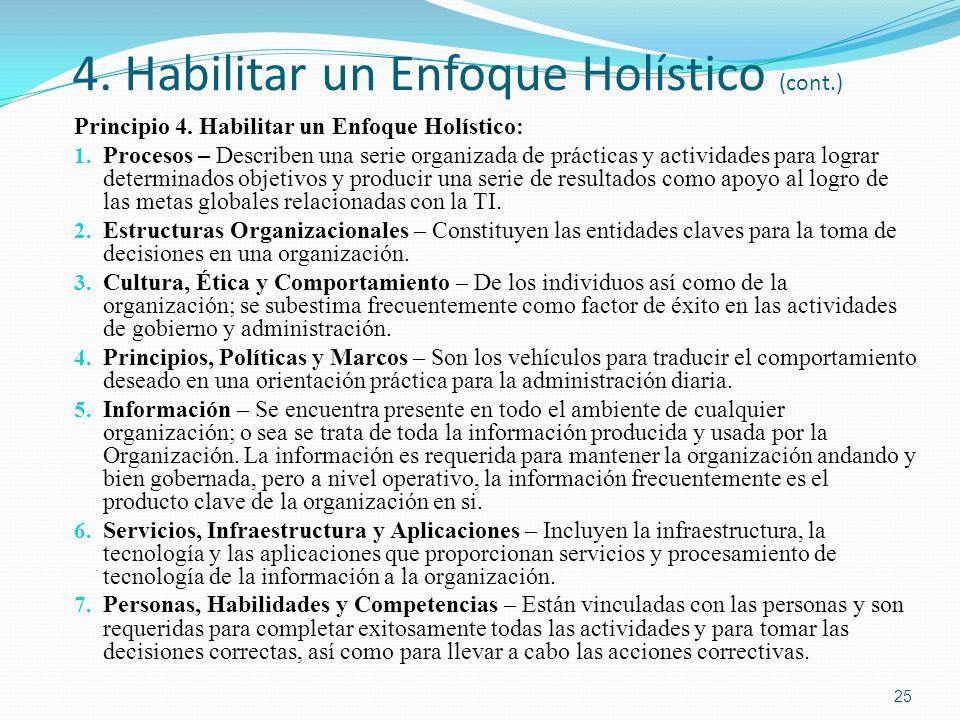 4. Habilitar un Enfoque Holístico (cont.) Principio 4. Habilitar un Enfoque Holístico : 1. Procesos – Describen una serie organizada de prácticas y ac