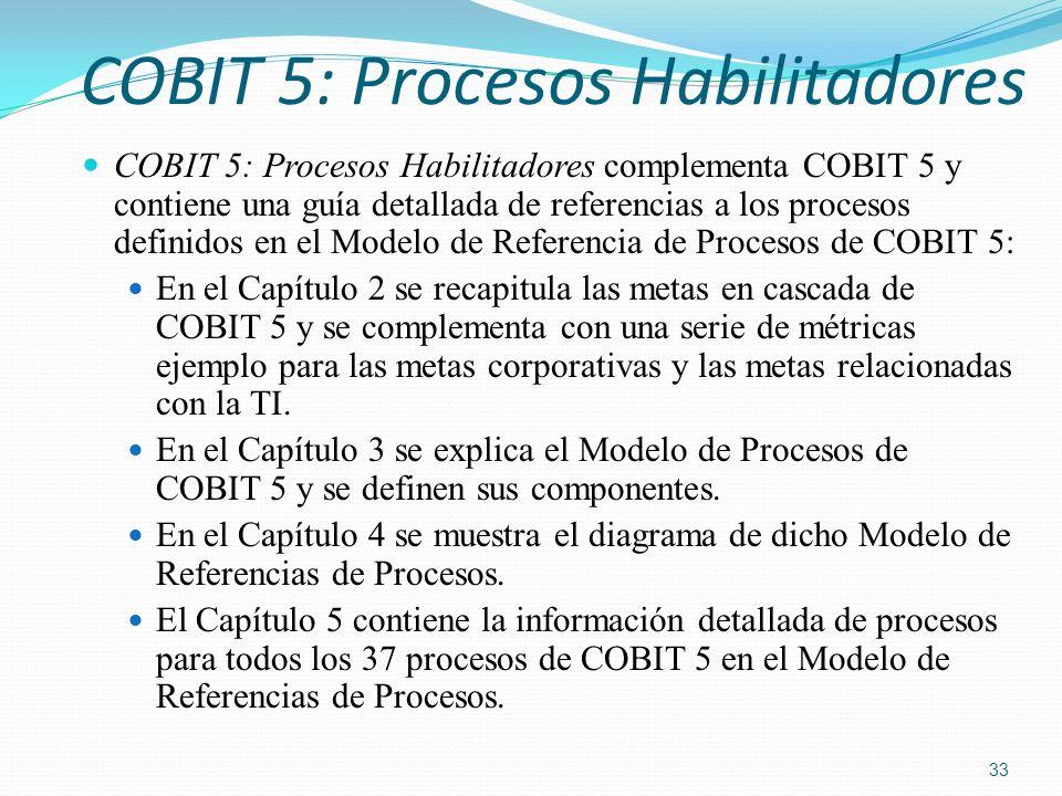 COBIT 5: Procesos Habilitadores COBIT 5: Procesos Habilitadores complementa COBIT 5 y contiene una guía detallada de referencias a los procesos defini