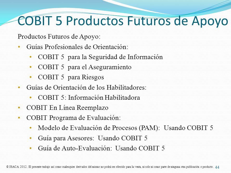 COBIT 5 Productos Futuros de Apoyo Productos Futuros de Apoyo: Guías Profesionales de Orientación: COBIT 5 para la Seguridad de Información COBIT 5 pa