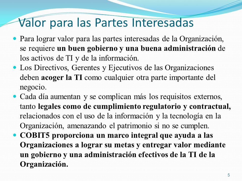 COBIT 5: Procesos Habilitadores (Cont.) COBIT 5: Procesos Habilitadores: El Modelo de Referencia de Procesos de COBIT 5 subdivide las actividades y prácticas de la Organización relacionadas con la TI en dos áreas principales – Gobierno y Administración – con la Administración a su vez dividida en dominios de procesos: El Dominio de GOBIERNO contiene cinco procesos de gobierno; dentro de cada proceso se definen las prácticas para Evaluar, Dirigir y Monitorear (EDM).