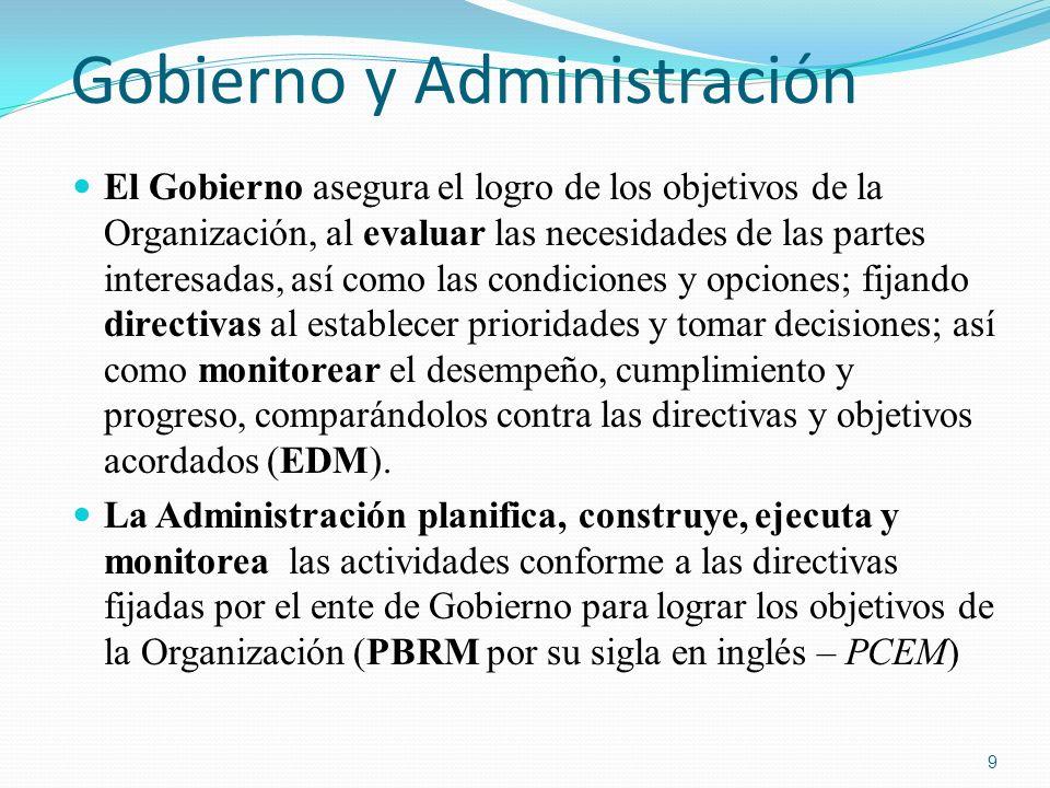 Gobierno y Administración El Gobierno asegura el logro de los objetivos de la Organización, al evaluar las necesidades de las partes interesadas, así