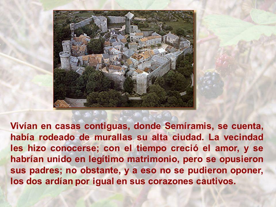 Vivían en casas contiguas, donde Semíramis, se cuenta, había rodeado de murallas su alta ciudad.