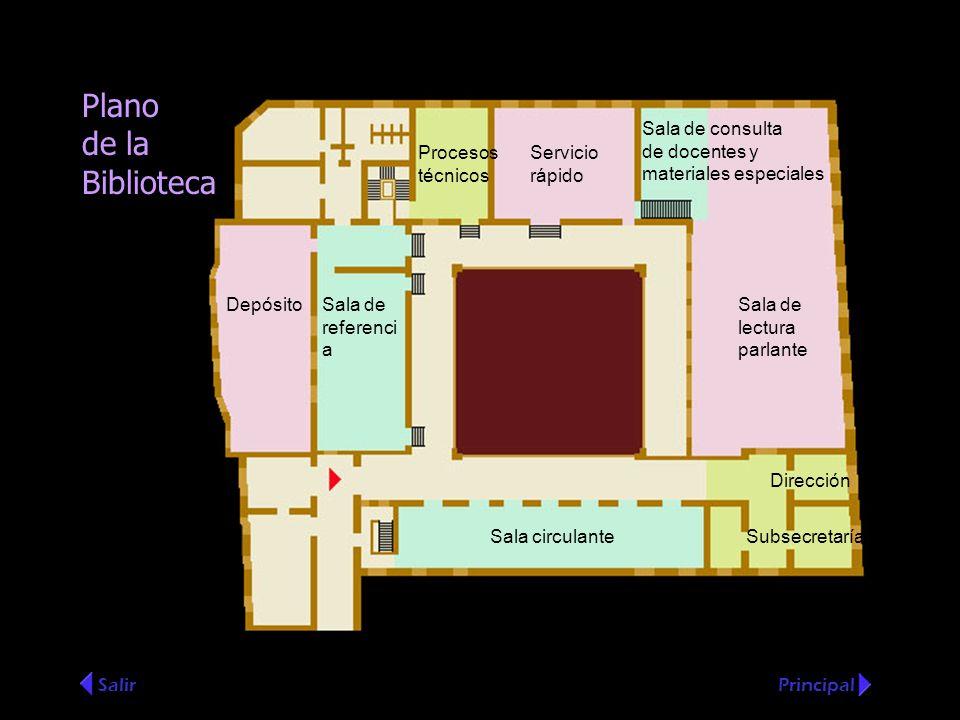 Plano de la Biblioteca SalirPrincipal Sala de consulta de docentes y materiales especiales Sala de lectura parlante Servicio rápido Procesos técnicos
