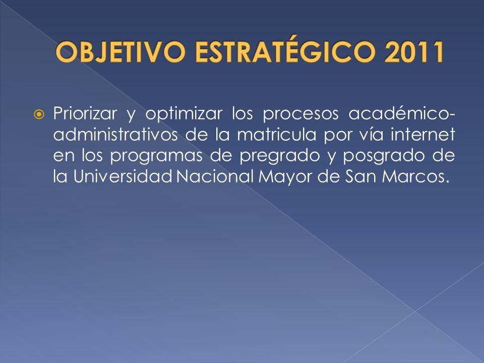 Priorizar y optimizar los procesos académico- administrativos de la matricula por vía internet en los programas de pregrado y posgrado de la Universid