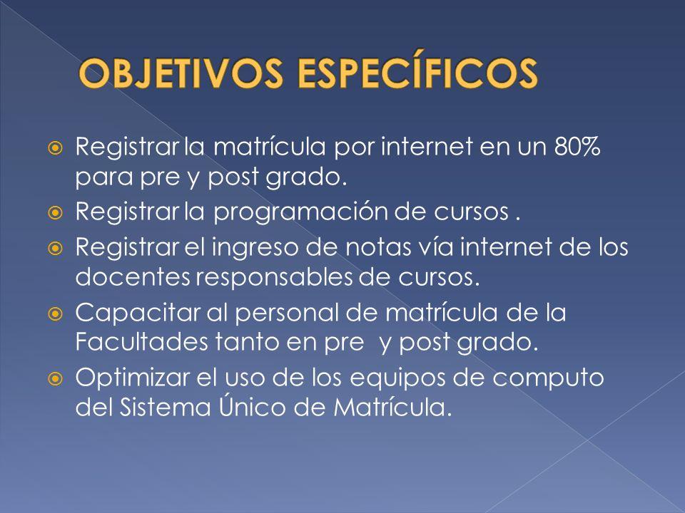 Registrar la matrícula por internet en un 80% para pre y post grado.