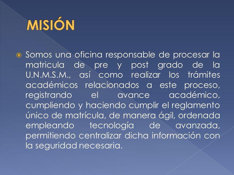 Somos una oficina responsable de procesar la matricula de pre y post grado de la U.N.M.S.M., así como realizar los trámites académicos relacionados a