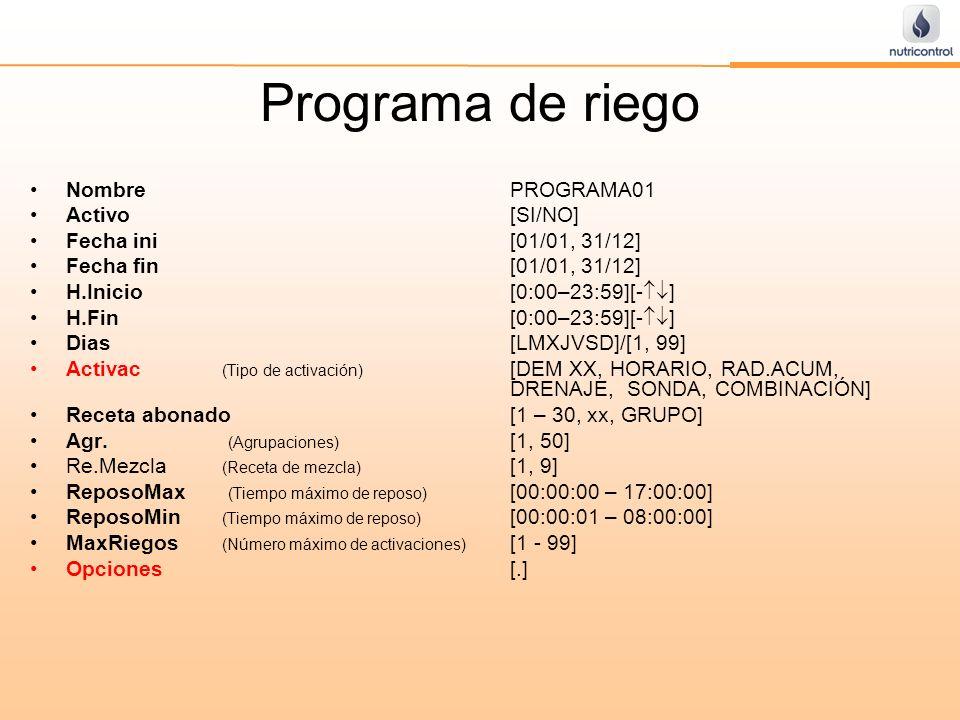 Programa de riego NombrePROGRAMA01 Activo[SI/NO] Fecha ini[01/01, 31/12] Fecha fin[01/01, 31/12] H.Inicio [0:00–23:59][- ] H.Fin [0:00–23:59][- ] Dias
