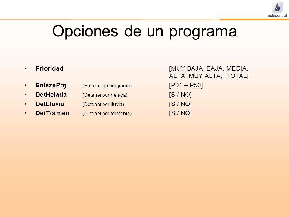 Opciones de un programa Prioridad[MUY BAJA, BAJA, MEDIA, ALTA, MUY ALTA, TOTAL] EnlazaPrg (Enlaza con programa) [P01 – P50] DetHelada (Detener por hel