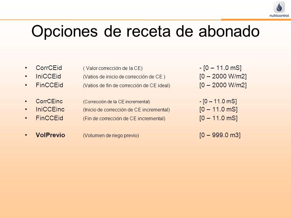 Opciones de receta de abonado CorrCEid ( Valor corrección de la CE) - [0 – 11.0 mS] IniCCEid (Vatios de inicio de corrección de CE ) [0 – 2000 W/m2] F