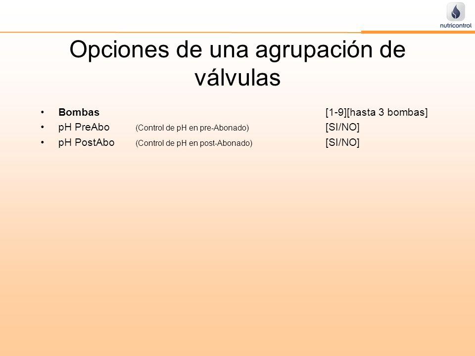 Opciones de una agrupación de válvulas Bombas[1-9][hasta 3 bombas] pH PreAbo (Control de pH en pre-Abonado) [SI/NO] pH PostAbo (Control de pH en post-