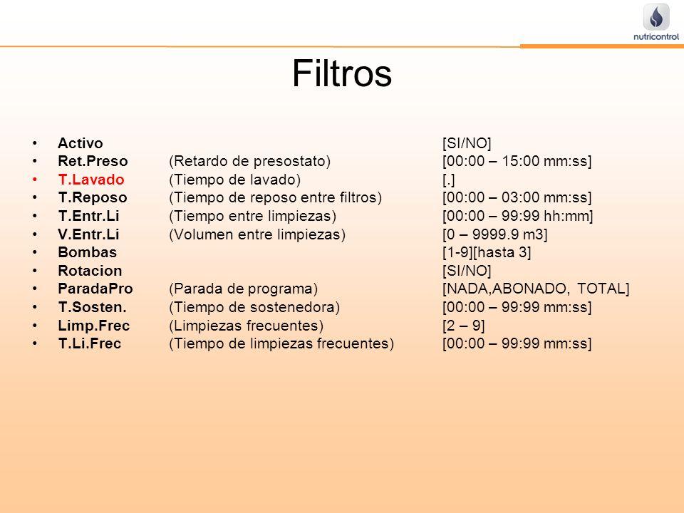 Filtros Activo[SI/NO] Ret.Preso(Retardo de presostato)[00:00 – 15:00 mm:ss] T.Lavado (Tiempo de lavado)[.] T.Reposo(Tiempo de reposo entre filtros)[00