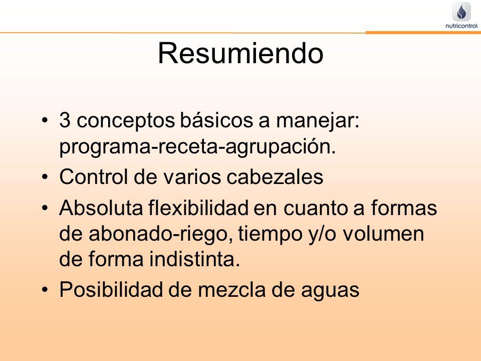 Resumiendo 3 conceptos básicos a manejar: programa-receta-agrupación. Control de varios cabezales Absoluta flexibilidad en cuanto a formas de abonado-