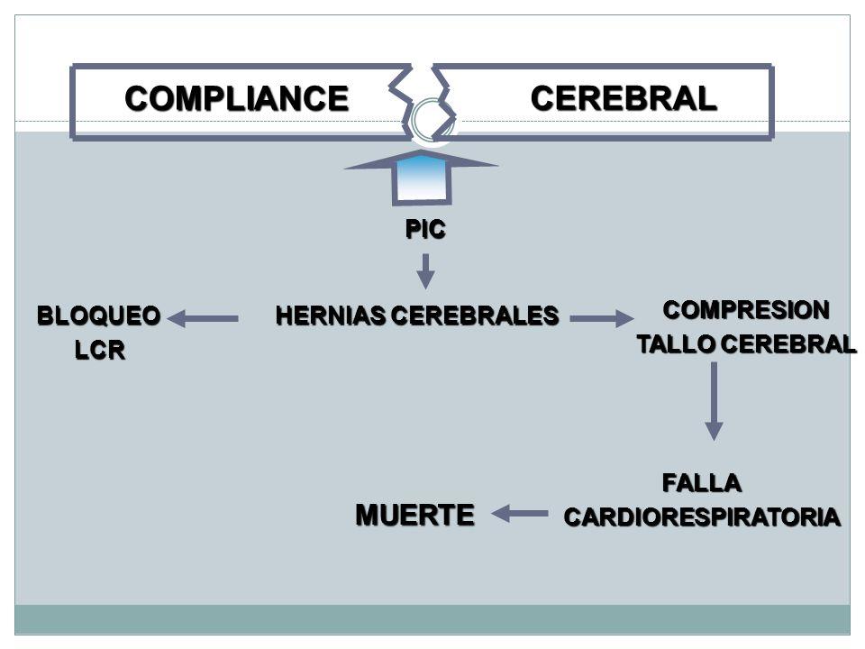 Disminución de la capacidad adaptativa intracraneal R/C A.