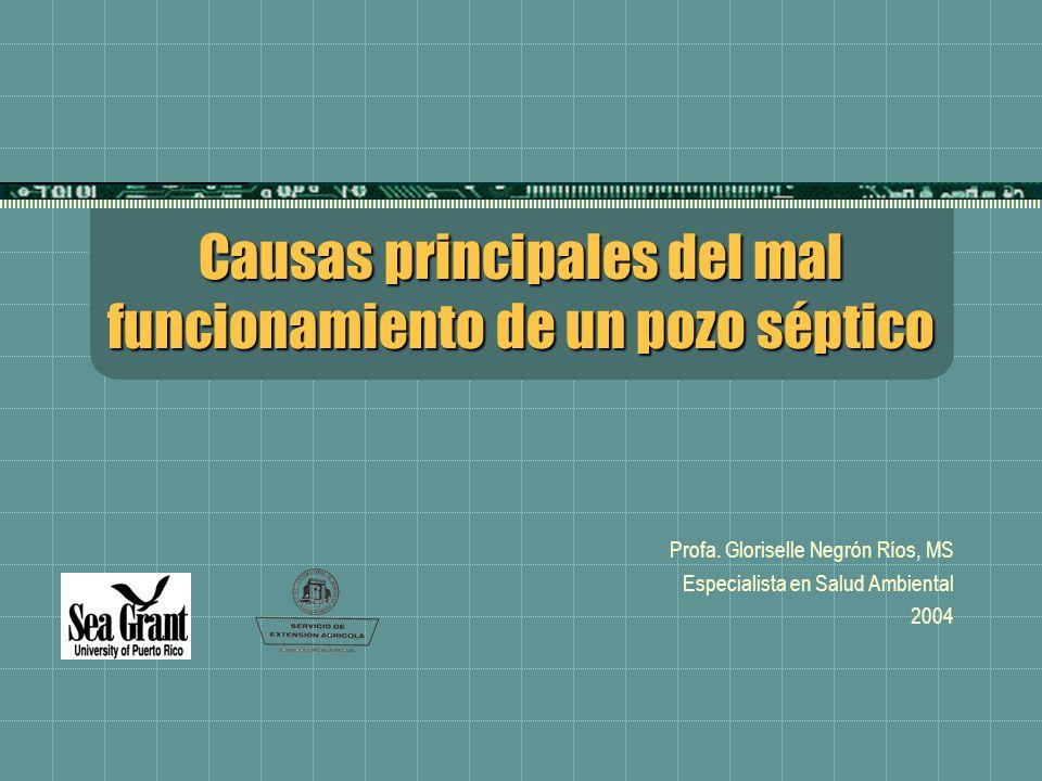 Causas principales del mal funcionamiento de un pozo séptico Profa. Gloriselle Negrón Ríos, MS Especialista en Salud Ambiental 2004
