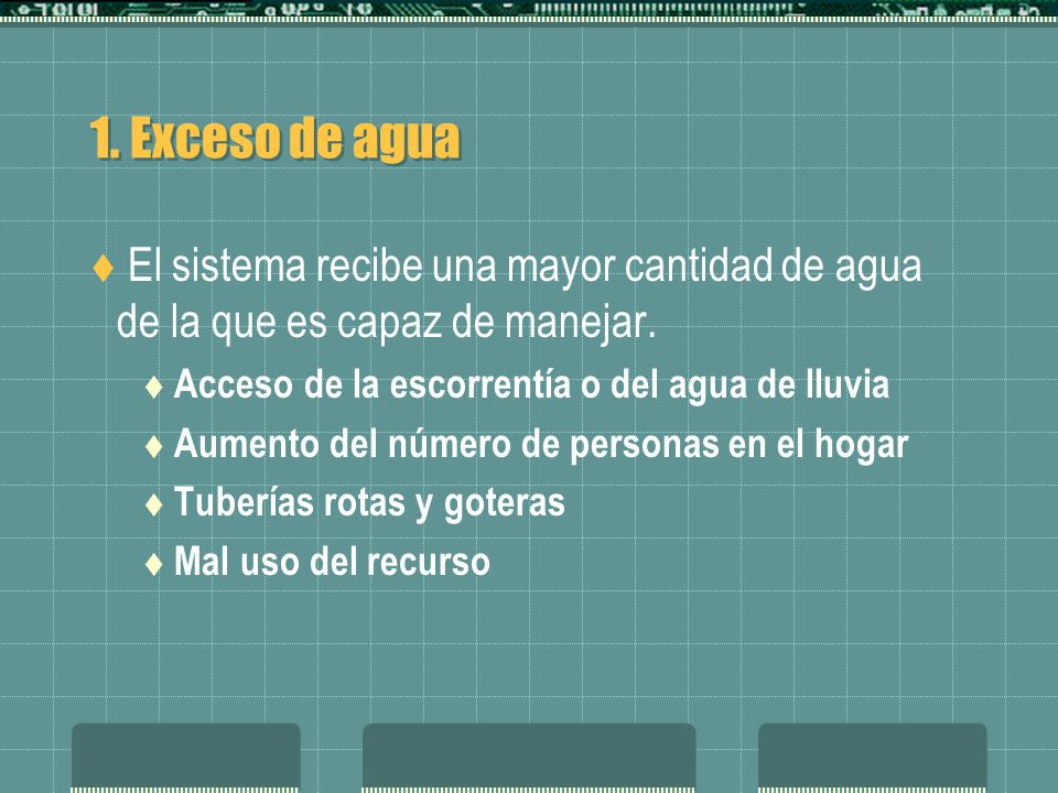1. Exceso de agua El sistema recibe una mayor cantidad de agua de la que es capaz de manejar. Acceso de la escorrentía o del agua de lluvia Aumento de
