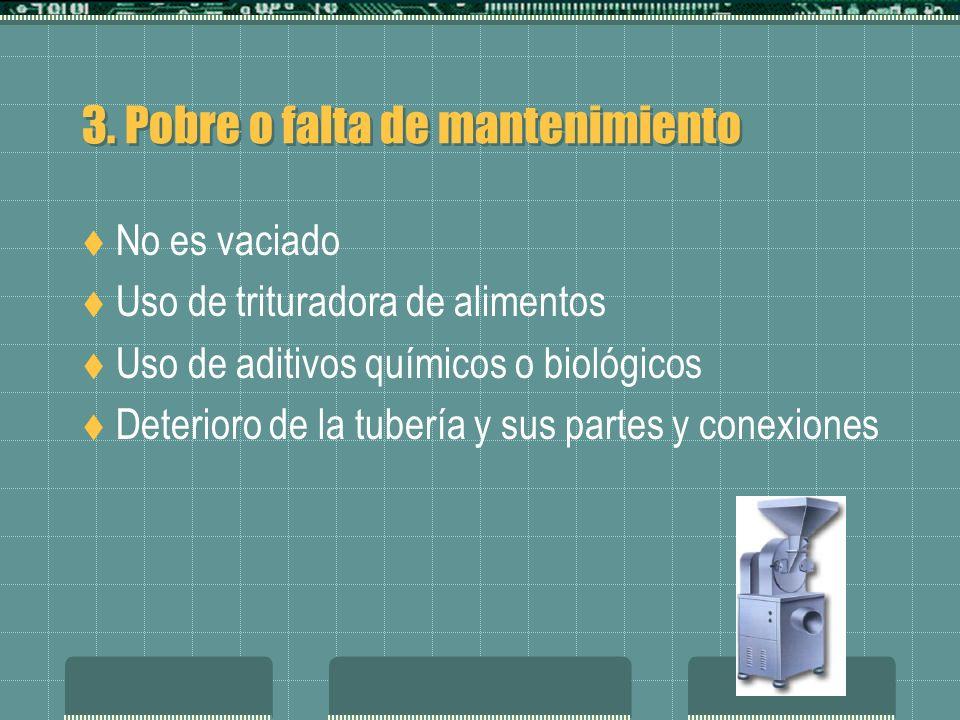 3. Pobre o falta de mantenimiento No es vaciado Uso de trituradora de alimentos Uso de aditivos químicos o biológicos Deterioro de la tubería y sus pa