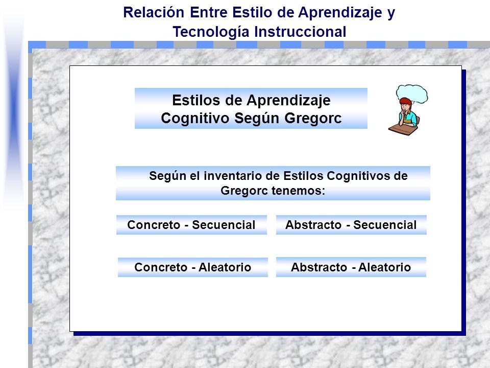 Relación Entre Estilo de Aprendizaje y Tecnología Instruccional El estudiante adopta consistentemente un tipo particular de estrategia de procesamient