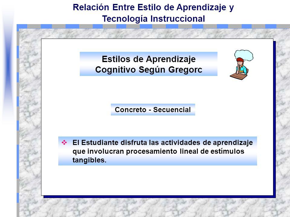 Relación Entre Estilo de Aprendizaje y Tecnología Instruccional Según el inventario de Estilos Cognitivos de Gregorc tenemos: Concreto - Secuencial Ab