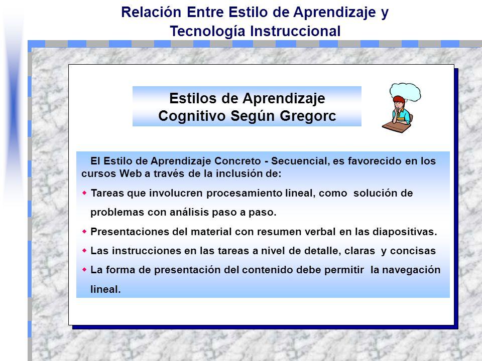 Relación Entre Estilo de Aprendizaje y Tecnología Instruccional Concreto - Secuencial El Estudiante disfruta las actividades de aprendizaje que involu