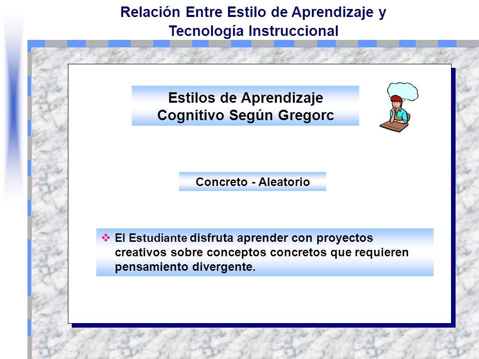 Relación Entre Estilo de Aprendizaje y Tecnología Instruccional El Estilo de Aprendizaje Abstracto-Secuencial, es favorecido en los cursos Web a travé