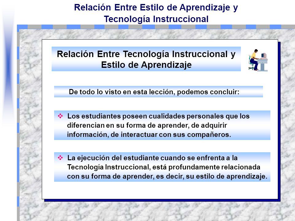 Relación Entre Estilo de Aprendizaje y Tecnología Instruccional El Estilo de Aprendizaje Abtracto-Aleatorio, es favorecido en los cursos Web a través