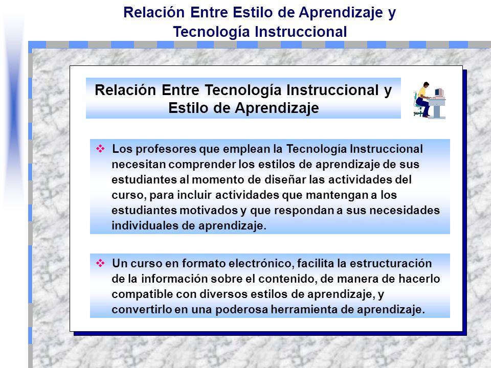 Relación Entre Estilo de Aprendizaje y Tecnología Instruccional Relación Entre Tecnología Instruccional y Estilo de Aprendizaje De todo lo visto en es