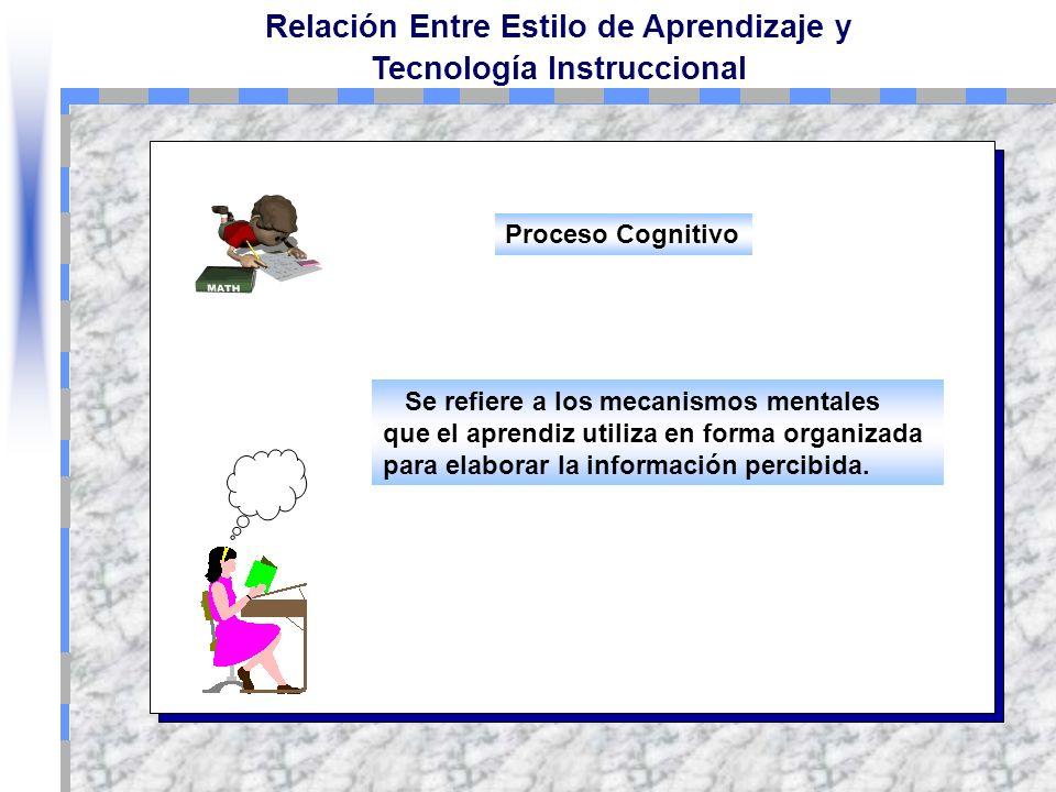 Relación Entre Estilo de Aprendizaje y Tecnología Instruccional Se puede describir como el proceso de percepción y procesamiento sensorial de la infor