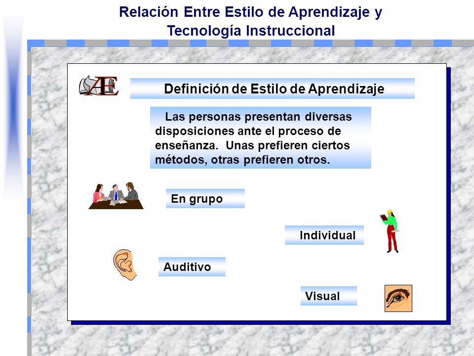 Relación Entre Estilo de Aprendizaje y Tecnología Instruccional Se refiere a los mecanismos mentales que el aprendiz utiliza en forma organizada para